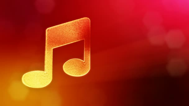 icon of music. Background made of glow particles as vitrtual hologram. 3D seamless animation with depth of field, bokeh and copy space. Red color V1