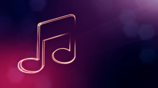 icon of music. Background made of glow particles as vitrtual hologram.. 3D seamless animation with depth of field, bokeh and copy space. Purple color v1