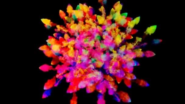 Feuerwerk von Farbe, Explosion von buntem Pulver isoliert auf schwarzem Hintergrund. 3D-Animation als farbenfroher abstrakter Hintergrund. Regenbogenfarben 22