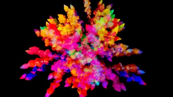 Feuerwerk von Farbe, Explosion von buntem Pulver isoliert auf schwarzem Hintergrund. 3D-Animation als farbenfroher abstrakter Hintergrund. Regenbogenfarben 48