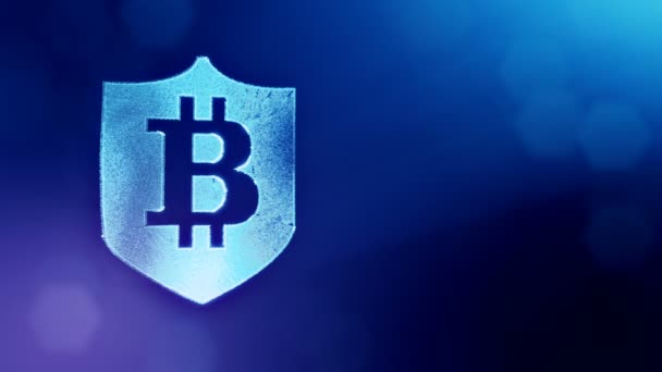 Bitcoin logó belsejében a pajzs. Pénzügyi háttér készült fény részecskék, mint a vitrtual hologram. Fényes 3d hurok élénkség-val mélység-mező, bokeh és másolás. Kék színű v2