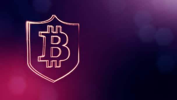 Bitcoin logó belsejében a pajzs. Pénzügyi háttér készült fény részecskék, mint a vitrtual hologram. Fényes 3d animáció zökkenőmentes mélység mező, bokeh és másolás. Lila színű v2