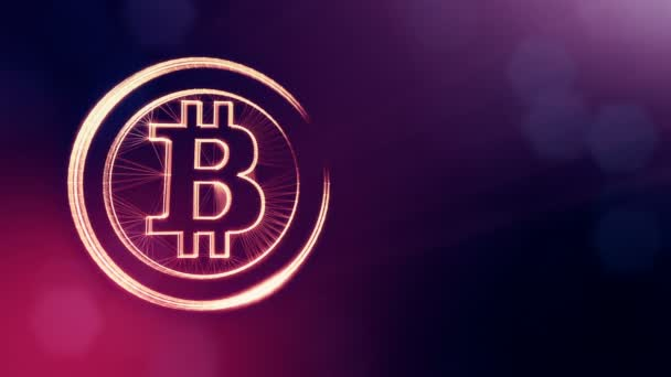bitcoin logo inside circles like coin. Financial background made of glow particles as vitrtual hologram. Shiny 3D loop animation with depth of field, bokeh and copy space. Violet color v2