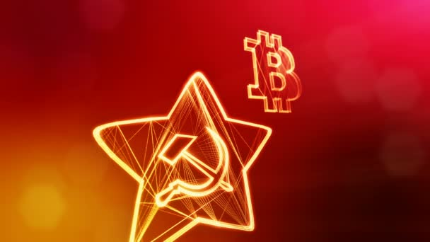 logo bitcoin and emblem of the USSR. Financial background made of glow particles as vitrtual hologram. Shiny 3D loop animation with depth of field, bokeh and copy space. Red color v2