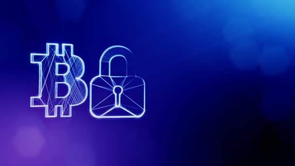 Bitcoin logo logo and emblem of lock. Financial background made of glow particles as vitrtual hologram. Shiny 3D loop animation with depth of field, bokeh and copy space. Blue color v2