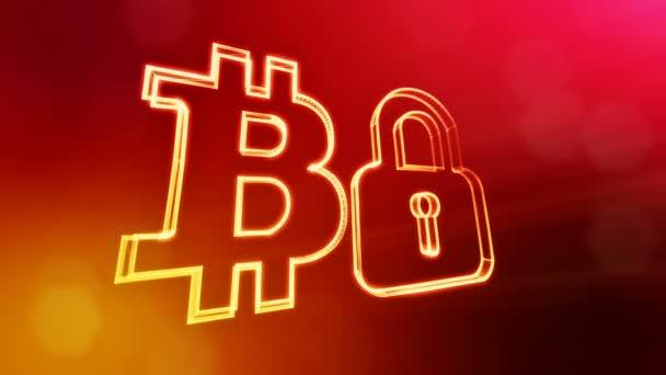 Bitcoin logo logo a znak zámku. Finanční zázemí z částic záře jako vitrtual hologram. Lesklé 3d plynulé animace s hloubkou pole, bokeh a kopie prostoru. Červená barva v2