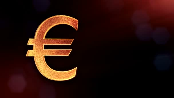 Ikonu animace nebo znak Euro Logo. Finanční zázemí z částic záře jako vitrtual hologram. 3d lesklé smyčka animace s hloubkou pole, bokeh a kopie prostoru. Tmavé pozadí v2
