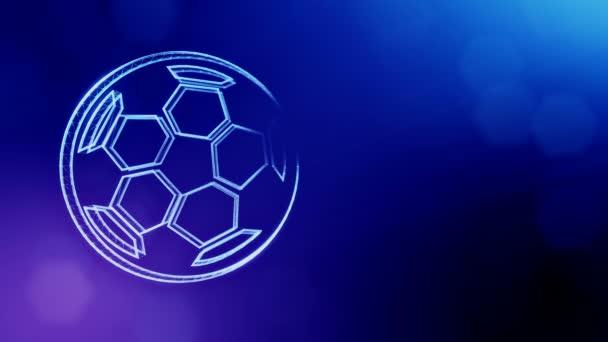 Icono de balón de fútbol. Fondo hecho de partículas de brillo como  holograma vitrtual. perfecta de animación en 3D con profundidad de campo 77b3bc16490da