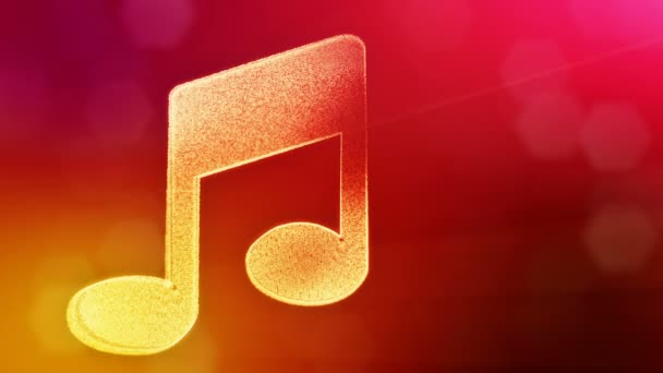 icon of music. Background made of glow particles as vitrtual hologram. 3D seamless animation with depth of field, bokeh and copy space. Red color v2