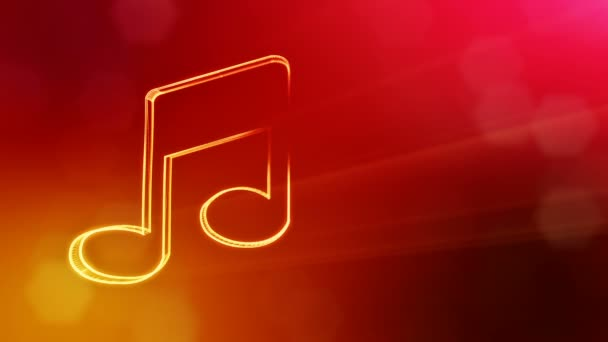 icon of music. Background made of glow particles as vitrtual hologram.. 3D seamless animation with depth of field, bokeh and copy space. Red color v2