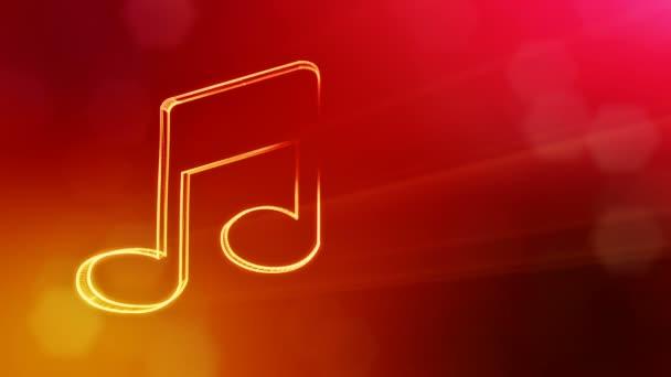 Ikone der Musik. Hintergrund aus Glühpartikeln als vitrtuelles Hologramm.. 3D nahtlose Animation mit Schärfentiefe, Bokeh und Kopierraum. rote Farbe v2