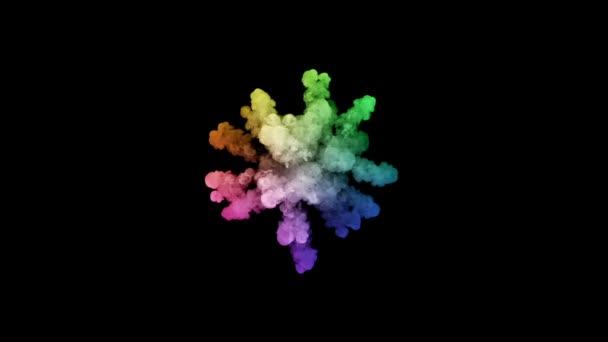 ohňostroje od barvy izolovaných na černém pozadí s pěkné trasy. exploze zbarveného prášku nebo inkoustu. šťavnaté kreativní výbuch všechny barvy duhy ve vzduchu, pomalu motion.1