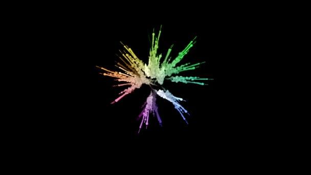 ohňostroje od barvy izolovaných na černém pozadí s pěkné trasy. exploze zbarveného prášku nebo inkoustu. šťavnaté kreativní exploze všechny barvy duhy ve vzduchu v pomalém pohybu. 3