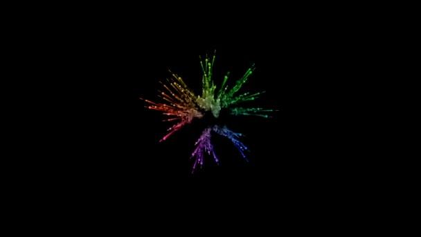ohňostroje od barvy izolovaných na černém pozadí s pěkné trasy. exploze zbarveného prášku nebo inkoustu. šťavnaté kreativní exploze všechny barvy duhy ve vzduchu v pomalém pohybu. 4