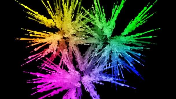 ohňostroje od barvy izolovaných na černém pozadí s pěkné trasy. exploze zbarveného prášku nebo inkoustu. šťavnaté kreativní exploze všechny barvy duhy ve vzduchu v pomalém pohybu. 17