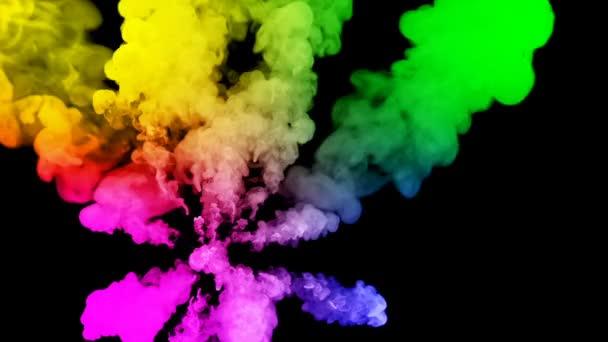 ohňostroje od barvy izolovaných na černém pozadí s pěkné trasy. exploze zbarveného prášku nebo inkoustu. šťavnaté kreativní exploze všechny barvy duhy ve vzduchu v pomalém pohybu. 26
