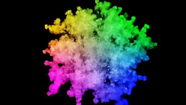 ohňostroje od barvy izolovaných na černém pozadí s pěkné trasy. exploze zbarveného prášku nebo inkoustu. šťavnaté kreativní exploze všechny barvy duhy ve vzduchu v pomalém pohybu. 27