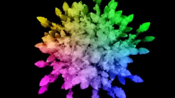 festékek, fekete háttér, szép pályák elszigetelt tűzijáték. a robbanás a színes por vagy a festék. lédús kreatív robbanás az összes színt a szivárvány a levegőben, a lassú mozgás. 36