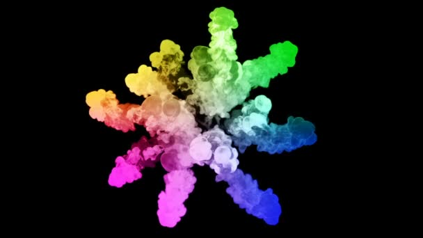 fireworks from paints isolated on black background with nice trails. explosion of colored powder or ink. juicy creative explosion of all colors of the rainbow in the air in slow motion. 39
