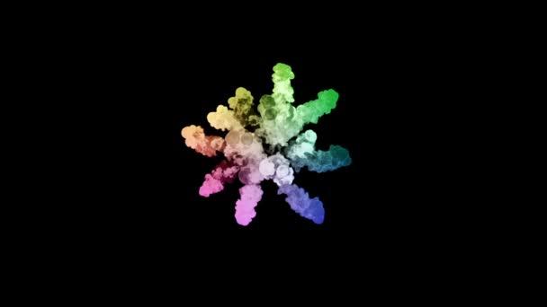 ohňostroje od barvy izolovaných na černém pozadí s pěkné trasy. exploze zbarveného prášku nebo inkoustu. šťavnaté kreativní exploze všechny barvy duhy ve vzduchu v pomalém pohybu. 41
