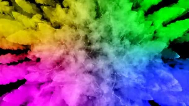 festékek, fekete háttér, szép pályák elszigetelt tűzijáték. a robbanás a színes por vagy a festék. lédús kreatív robbanás az összes színt a szivárvány a levegőben, a lassú mozgás. 44