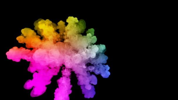 ohňostroje od barvy izolovaných na černém pozadí s pěkné trasy. exploze zbarveného prášku nebo inkoustu. šťavnaté kreativní exploze všechny barvy duhy ve vzduchu v pomalém pohybu. 52
