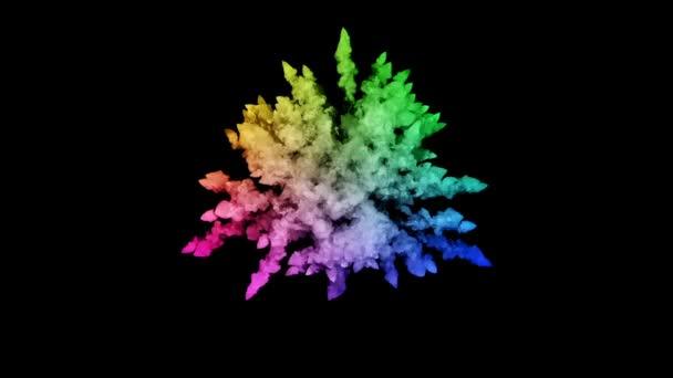 festékek, fekete háttér, szép pályák elszigetelt tűzijáték. a robbanás a színes por vagy a festék. lédús kreatív robbanás az összes színt a szivárvány a levegőben, a lassú mozgás. 65