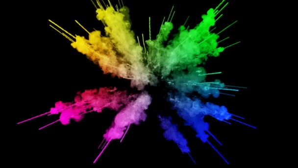 fireworks from paints isolated on black background with nice trails. explosion of colored powder or ink. juicy creative explosion of all colors of the rainbow in the air in slow motion. 75
