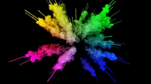 ohňostroje od barvy izolovaných na černém pozadí s pěkné trasy. exploze zbarveného prášku nebo inkoustu. šťavnaté kreativní exploze všechny barvy duhy ve vzduchu v pomalém pohybu. 75