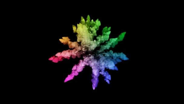 ohňostroje od barvy izolovaných na černém pozadí s pěkné trasy. exploze zbarveného prášku nebo inkoustu. šťavnaté kreativní exploze všechny barvy duhy ve vzduchu v pomalém pohybu. 76