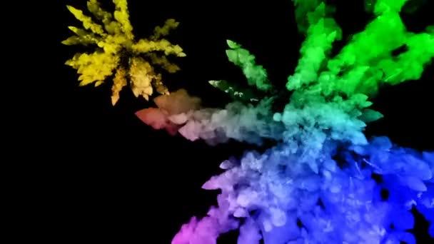 festékek, fekete háttér, szép pályák elszigetelt tűzijáték. a robbanás a színes por vagy a festék. lédús kreatív robbanás az összes színt a szivárvány a levegőben, a lassú mozgás. 96
