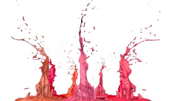 Festékek tánc idő lassulás fehér háttér. Szimulációs 3d kifröccsenésekor tinta a zenei beszélő zenélni. Fröccsenő, mint ultra magas minőségű 4k világos háttér. árnyalatú vörös 15
