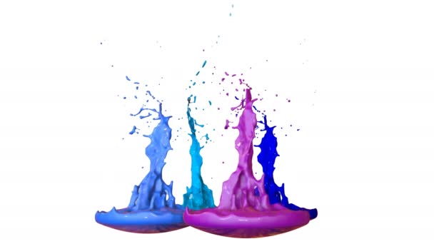Festékek tánc idő lassulás fehér háttér. Szimulációs 3d kifröccsenésekor tinta a zenei beszélő zenélni. Fröccsenő, mint ultra magas minőségű 4k világos háttér. árnyalatú kék 7