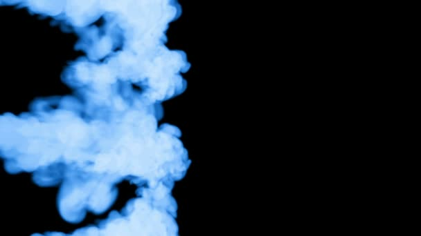 fluorescent blue ink dissolves in water on black background with luma matte. 3d render V12 a lot of streams