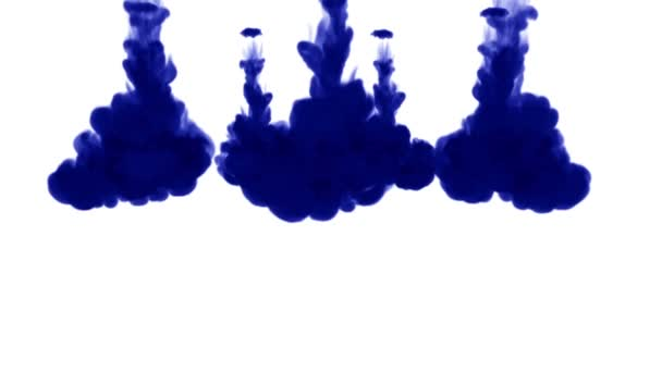 Blue ink dissolves in water on white background with luma matte. 3d render V5 a lot of streams