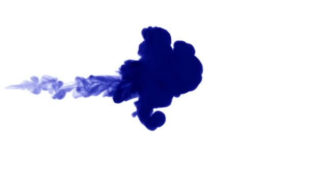 Blue ink dissolves in water on white background with luma matte. 3d render V7