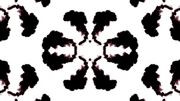 black ink dissolves in water on white background with luma matte. 3d render V8 kaleidoscope effect