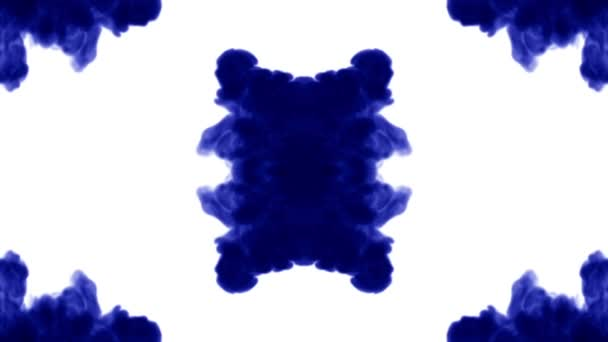 Blue ink dissolves in water on white background with luma matte. 3d render V1 kaleidoscope effect