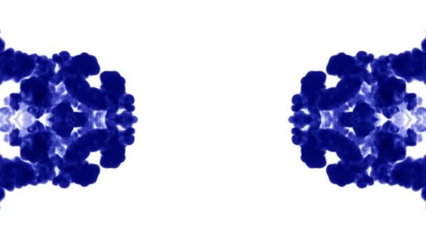 Blue ink dissolves in water on white background with luma matte. 3d render V5 kaleidoscope effect