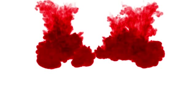red ink dissolves in water on white background with luma matte. 3d render V1 a lot of streams