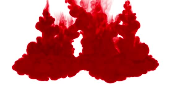 red ink dissolves in water on white background with luma matte. 3d render V12 a lot of streams