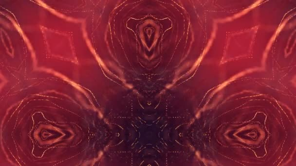 3d loop animation as science fiction background of glowing particles with depth of field and bokeh for vj loop. Particles form line and surface grid. V31 red gold