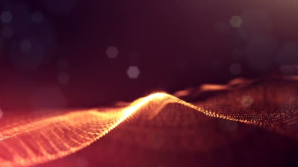 3d loop animation as science fiction background of glowing particles with depth of field and bokeh for vj loop. Particles form line and surface grid. V41 red gold