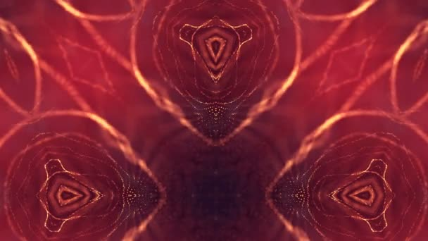 3d loop animation for science fiction background of glowing particles with depth of field and bokeh. Particles form line and surface grid for vj loop. V5 red gold