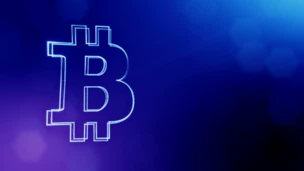 Bitcoin ikona. Finanční zázemí z částic záře jako vitrtual hologram. Lesklé 3d plynulé animace s hloubkou pole, bokeh a kopie prostoru... Modrá verze 3