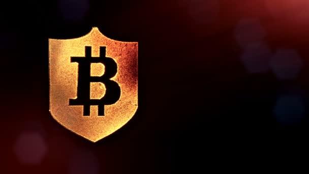 Bitcoin logó belsejében a pajzs. Pénzügyi háttér készült fény részecskék, mint a vitrtual hologram. Fényes 3d hurok élénkség-val mélység-mező, bokeh és másolás. Sötét változat 3