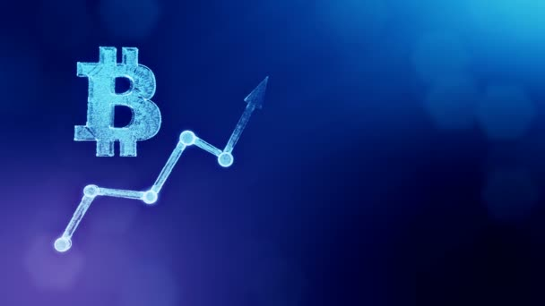 Sign of bitcoin and growing schedule. Financial background made of glow particles as vitrtual hologram. Shiny 3D loop animation with depth of field, bokeh and copy space. Blue version 3.