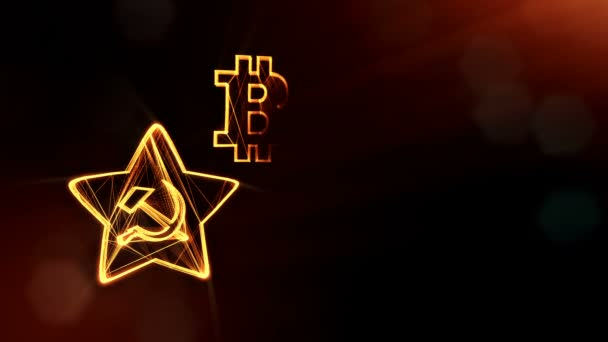 logo bitcoin and emblem of the USSR. Financial background made of glow particles as vitrtual hologram. Shiny 3D loop animation with depth of field, bokeh and copy space. 3