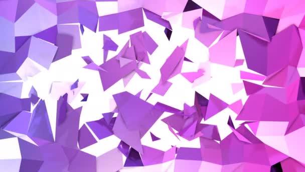 Abstraktní nízké poly styl smyčkového pozadí. 3D plynulé animace v rozlišení 4k. Moderní barvy přechodu. Nízké poly fialově modrá povrch s mezerou uprostřed v1