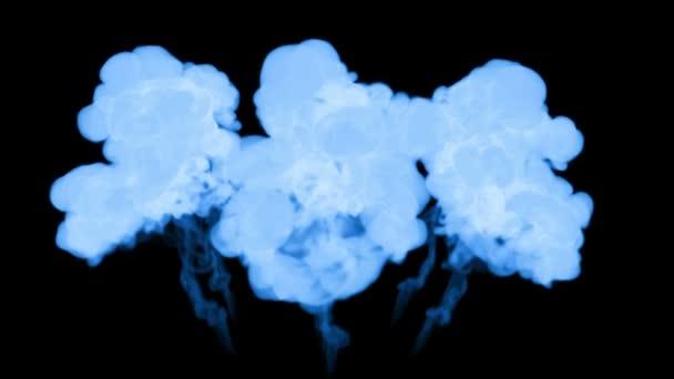 blue ink dissolves in water on black background with luma matte. 3d render of computer simulation. V7